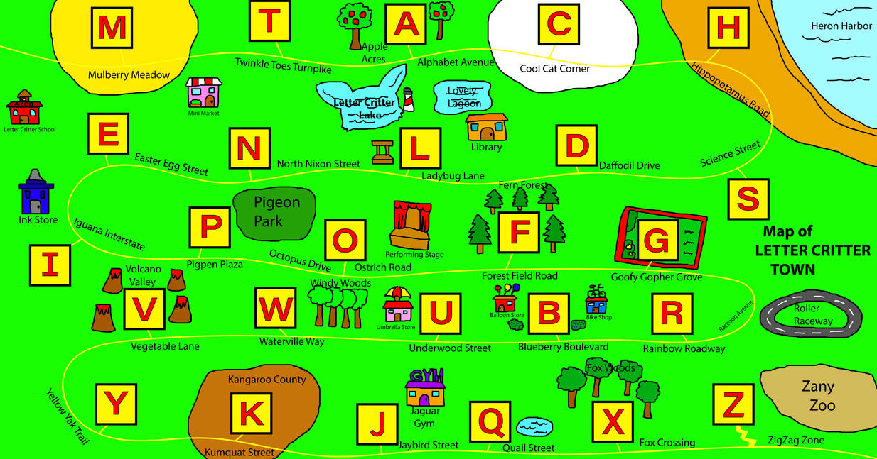 Letter Critter Town map