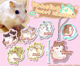 Dancing Dwarf Hamsters Acrylic Charms by AquaZircon