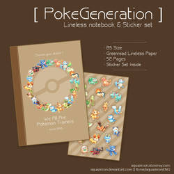 [SOLDOUT] PokeGeneration Notebook with Sticker Set by AquaZircon
