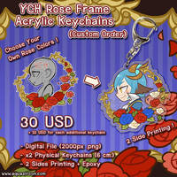 YCH Commission Rose Frame Acrylic Keychains