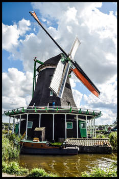 MILL IN THE ZAANSE SCHANS, THE NETHERLANDS .