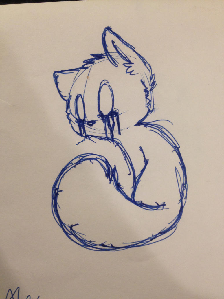 Pen Drawing Sad Kitty