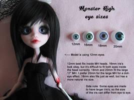 Monster High eye sizes