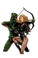 Green Arrow, Black Canary by timothylaskey