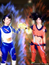 Fem Vegeta and Goku by Illuminated-Imagery