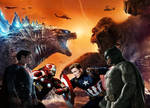 Godzilla, Superman, Iron man vs. captain america,
