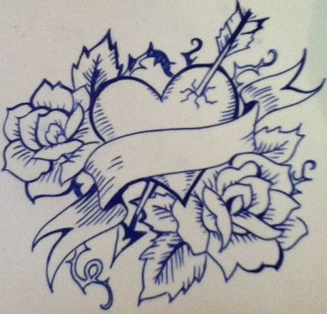Hearts And Roses And Stars Drawings -one heart and two roses- by