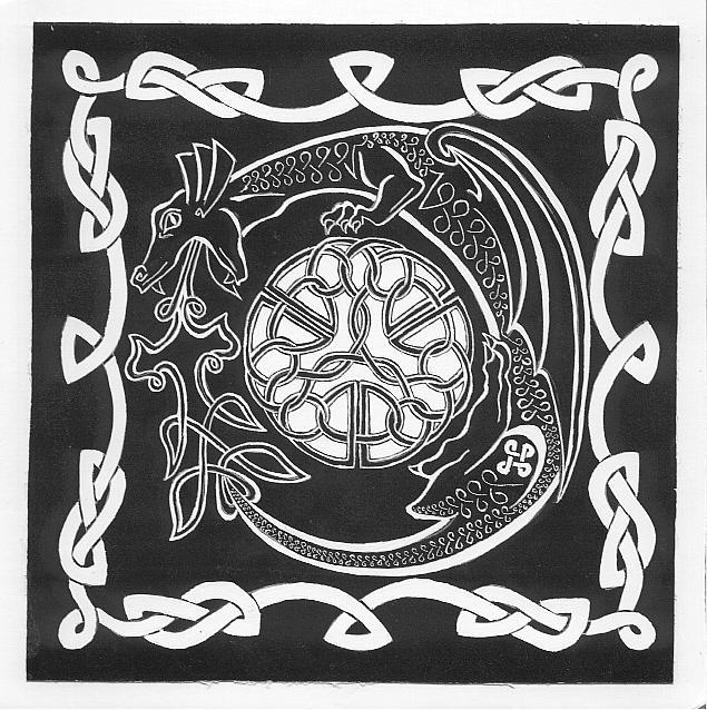 Celtic Dragon Scratchboard by kittyq on deviantART
