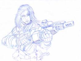 Elena with a Gun by Sabakakrazny