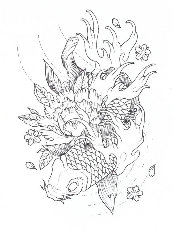 2 koi fish tattoo outline designs the for Koi fish outline