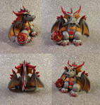 Silver Red and Gold Dice Wyvern