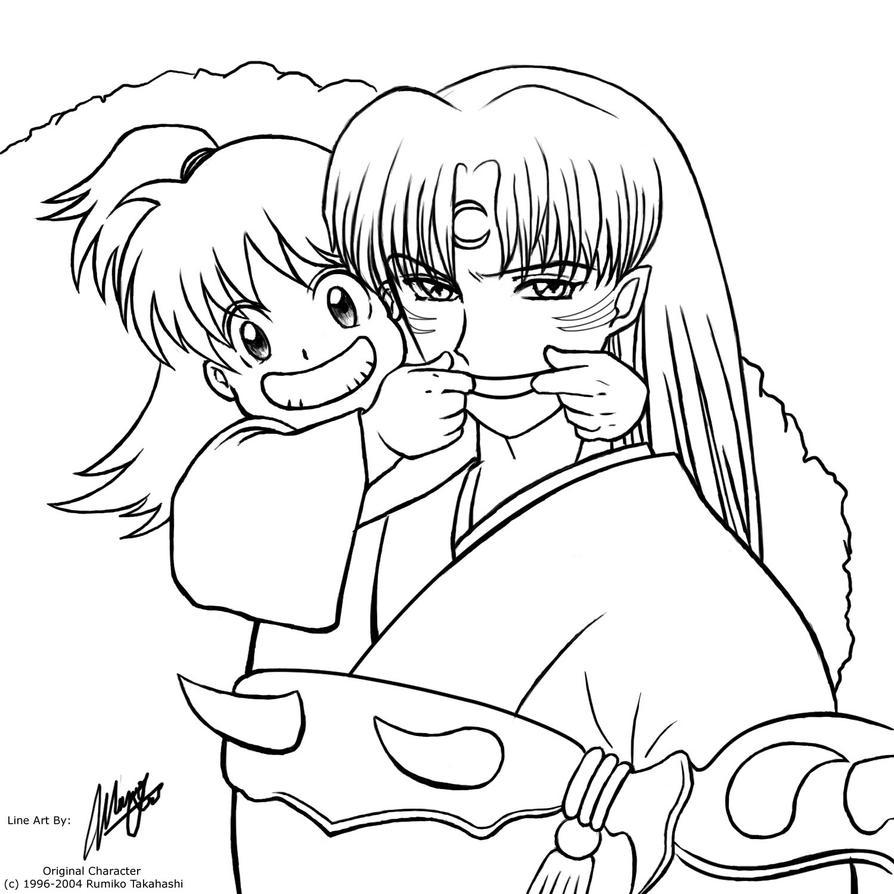 Sesshoumaru and Rin - Line Art by lilfuzz6
