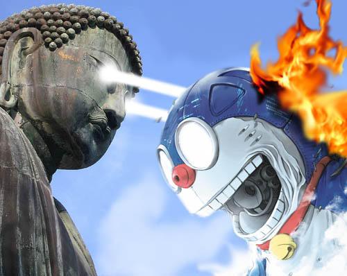 Buddhakaizer vs Doraemon by mopinks