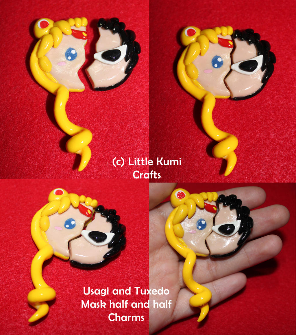 usagi and tuxedo mask half charms sailor moon by lkcrafts on