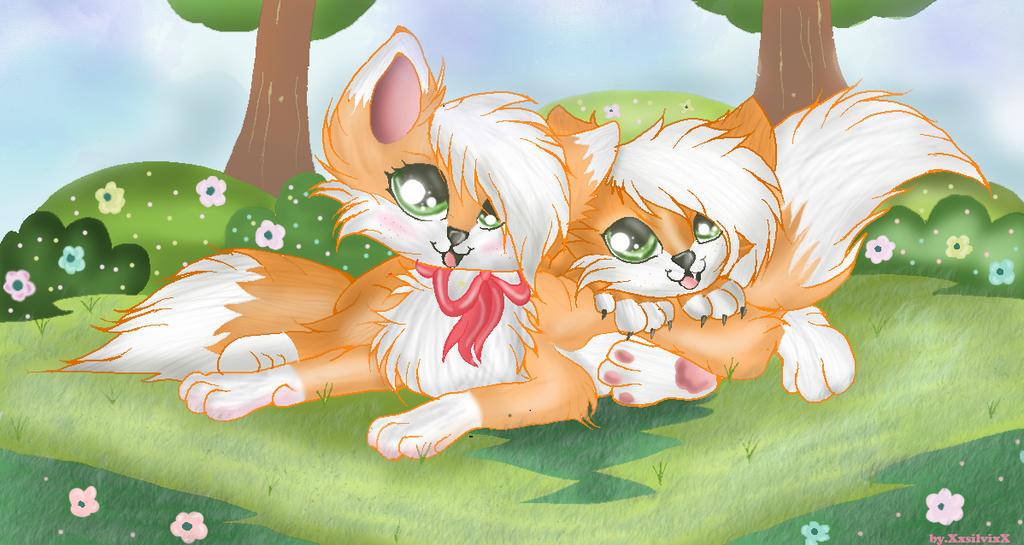 2 foxes by XxsilvixX