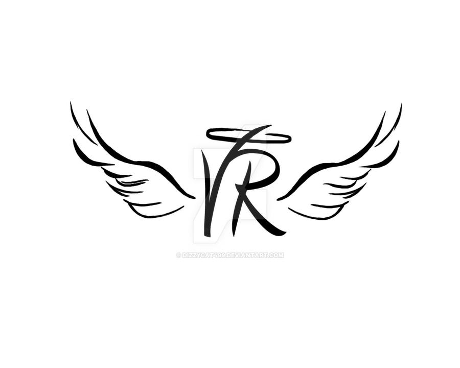 Angel Wings Initial Tattoo 161279046 on fonts for letter e