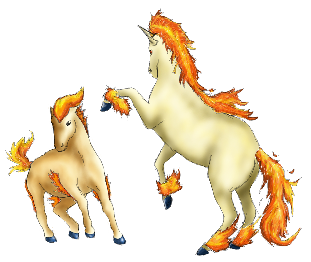 078 and 079 - Rapidash and Ponyta by Aurora-Ghost