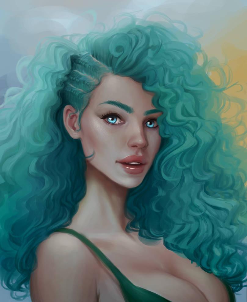 Turquoise mermaid by TychyTamara