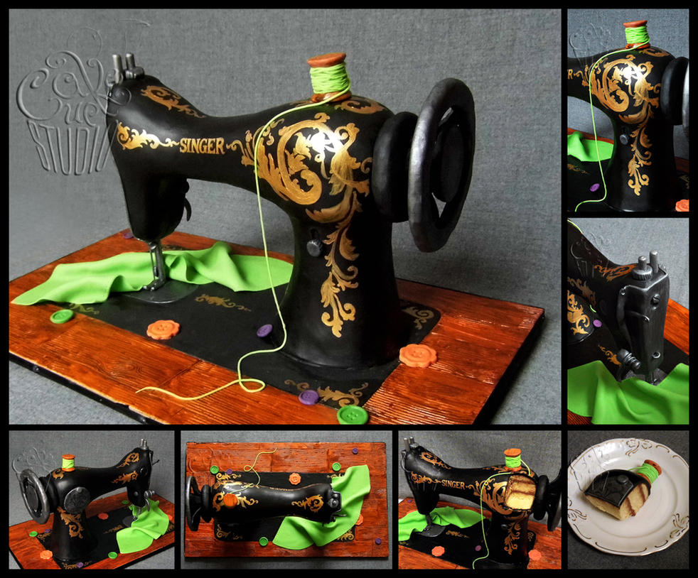 for Sis 2014 - Vintage Sewing Machine Cake by CakeUpStudio