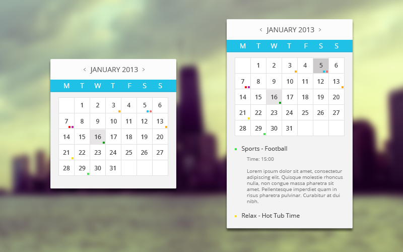 Multiple Events Calendar Widget by RLaloo