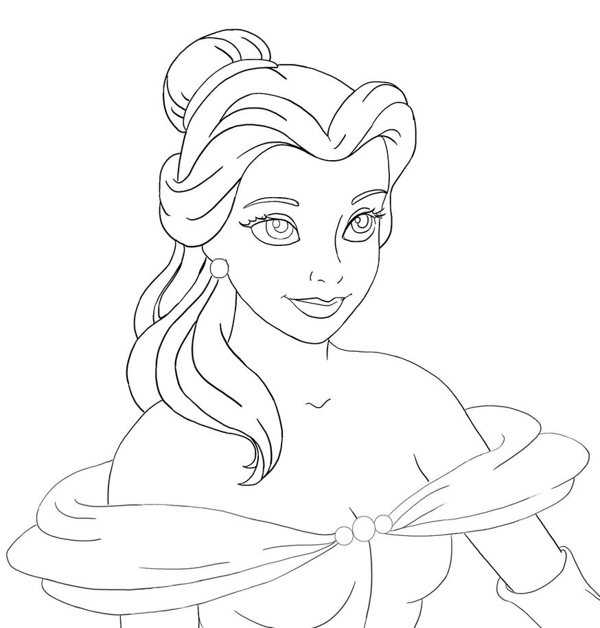 Line Art Disney : Belle lineart by flauschi leoni on deviantart