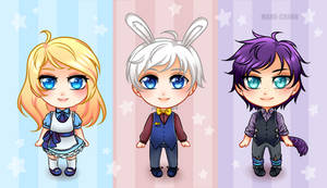 Tiny Chibi Commission: Alice, Finian and Grayson by manu-chann