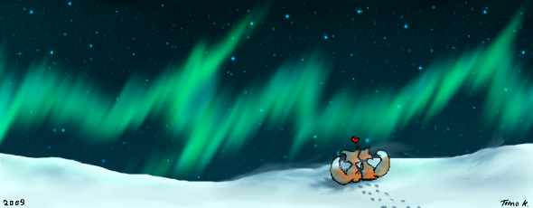 Foxes and Northern Lights by Oh-Ooo
