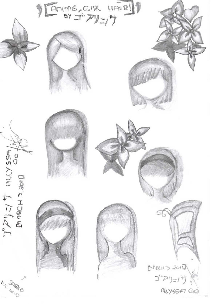 anime hairstyles girl by allyssanore3n98 manga anime traditional media ...