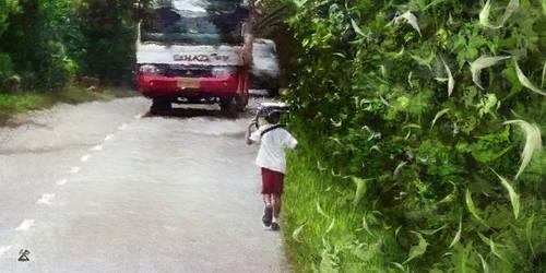 Sur le chemin de l'ecole (Bali)