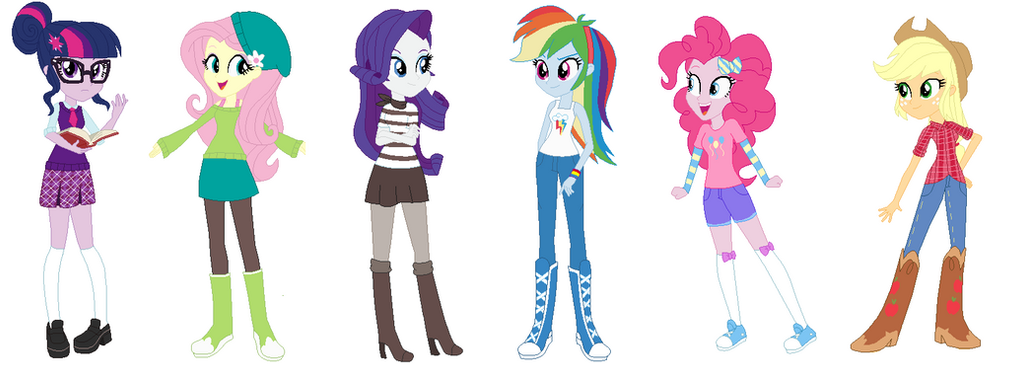 The EQG Mane 6 new outfits by Imtailsthefoxfan on DeviantArt