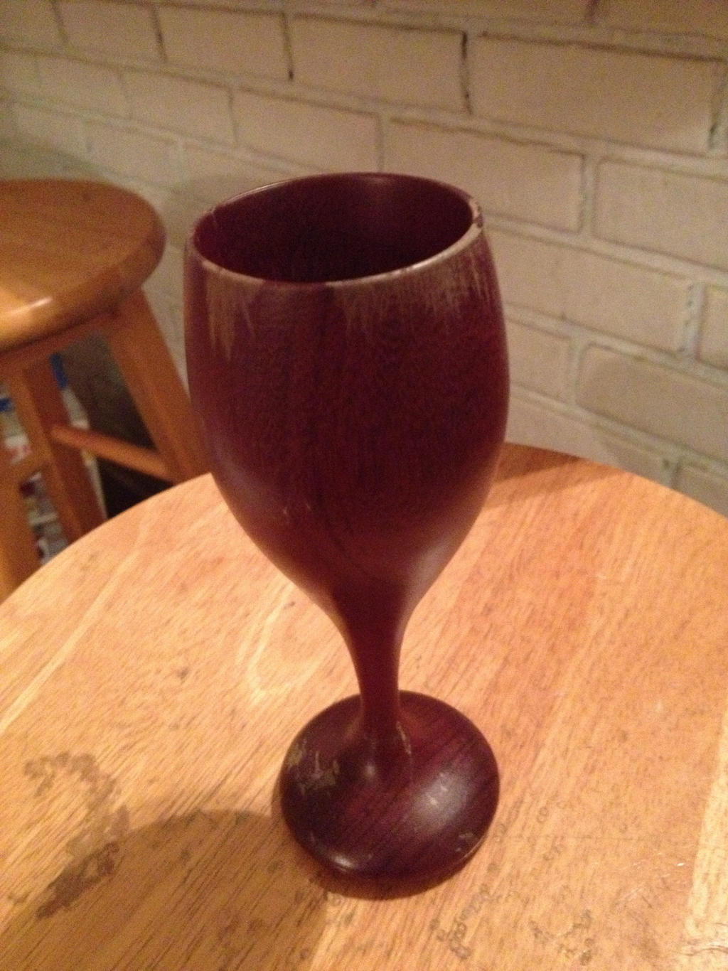 Wooden Chalice With Captured Ring