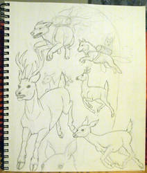 Jetpack Wolves Chasing Flaming Deer (WIP) by letrasiant