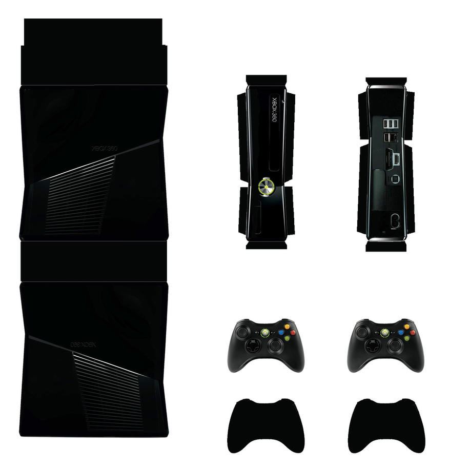 Xbox 360 slim black papercraft by facundoneglia on - Xbox one wallpaper template ...