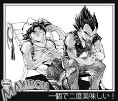 Goku and Vegeta eating by RoninoZ