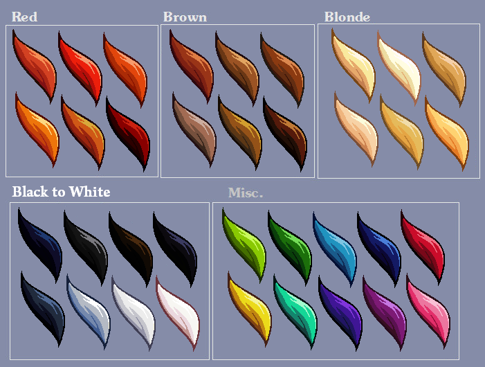 Hair Colour Swatches By Lizalot On Deviantart