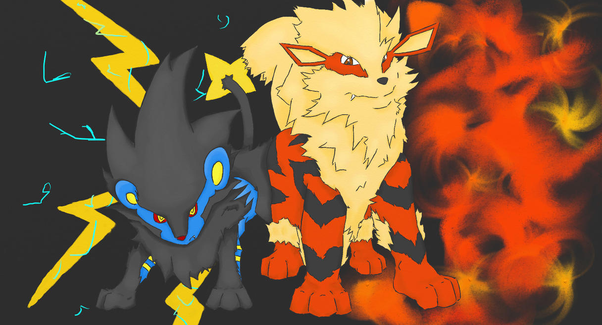 Luxray And Arcanine Coloured By Carlo Aka Silverfox