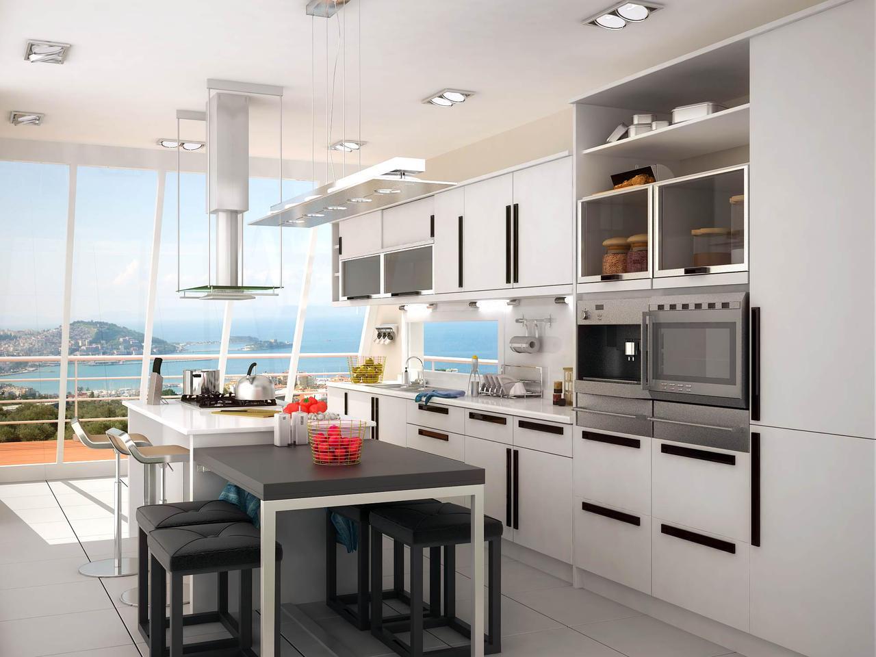 یک آشپزخانه با پنجره ای رو به دریا --- عکس زیبا و با کیفیت از دکوراسیون آشپزخانه با پنجره ای رو به دریا