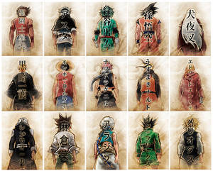 Sumi-e anime characters