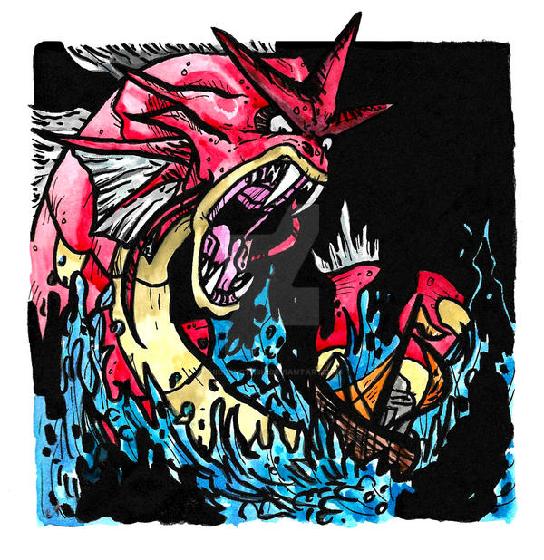 Red Gyarados by HiddenStash