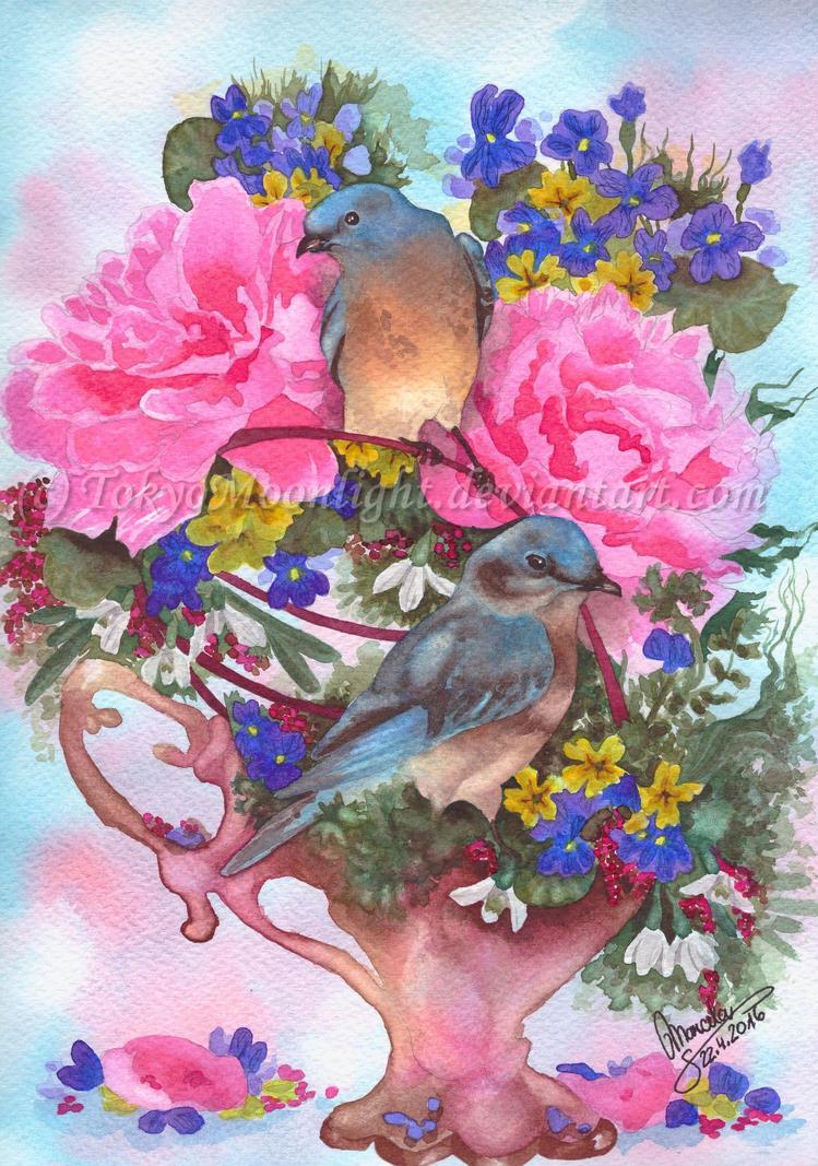 2Birds=Spring by TokyoMoonlight
