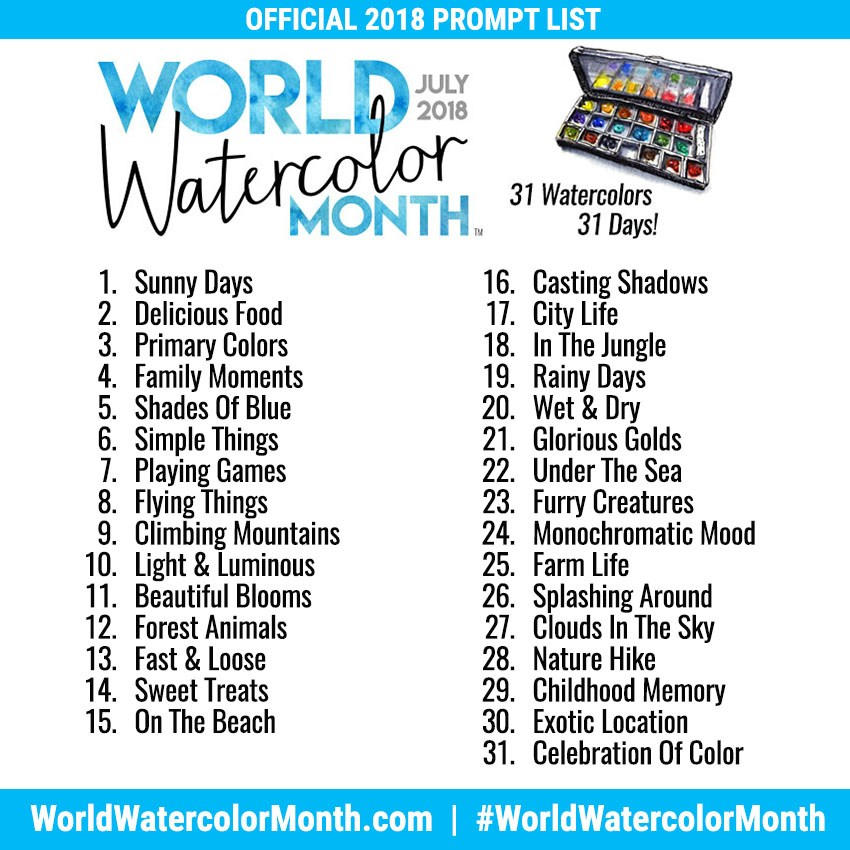 World-Watercolor-Month-2018-Official-Prompt-List-1 by TokyoMoonlight