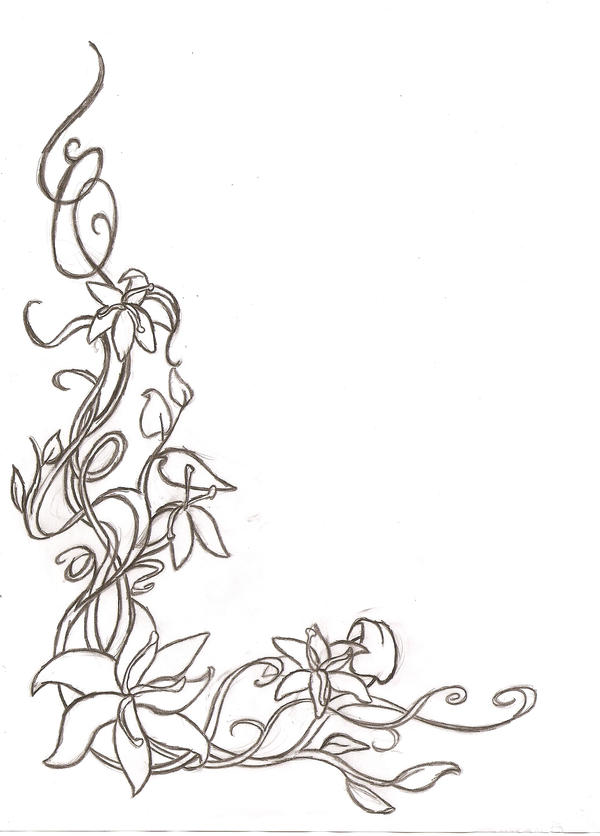 Line Drawing Flower Borders : Floral corner border sketch by shaunery on deviantart