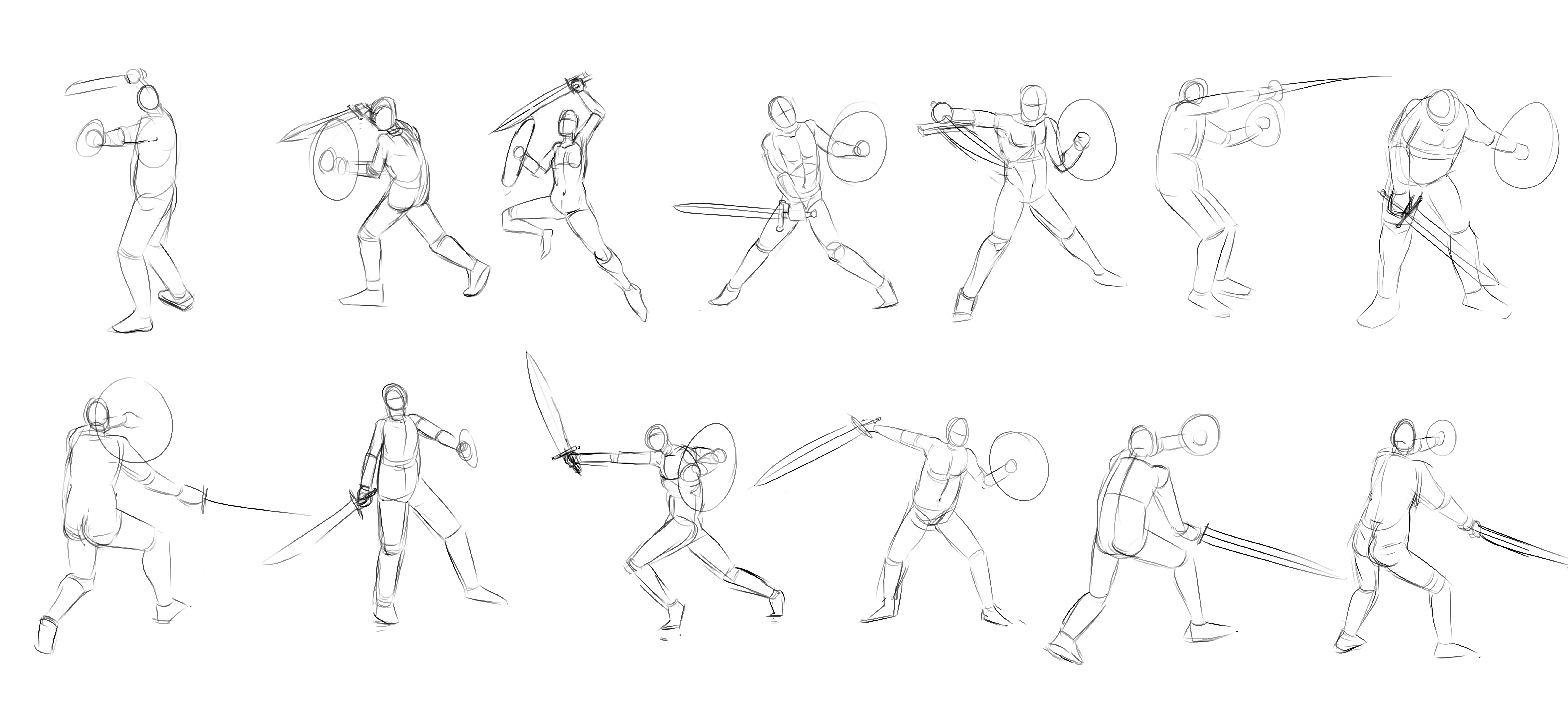 how to draw action poses sword