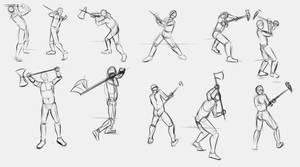 2 handed Axe and Pole Hammer Poses