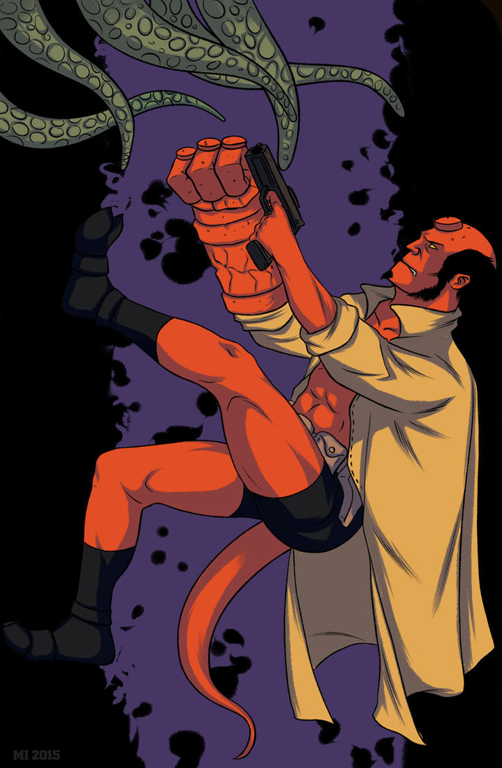 Hellboy and Tentacles by crow110696