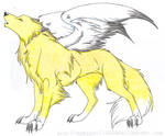 Colored Lineart: Winged Wolf