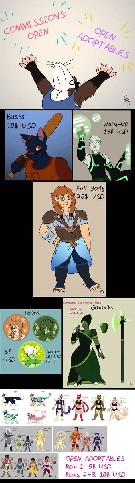 2017 Commissions Sheet by Flareblade2000