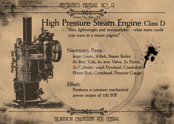 Mechanics Manual: SteamEngineD by Machina-Obscura