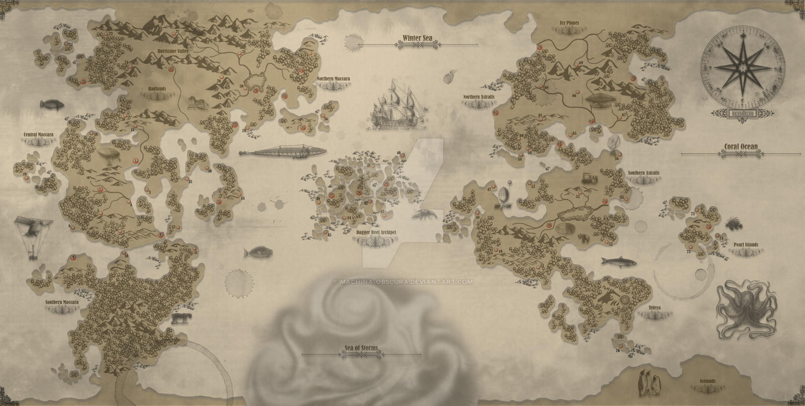 World map by machina obscura on deviantart world map by machina obscura gumiabroncs Image collections