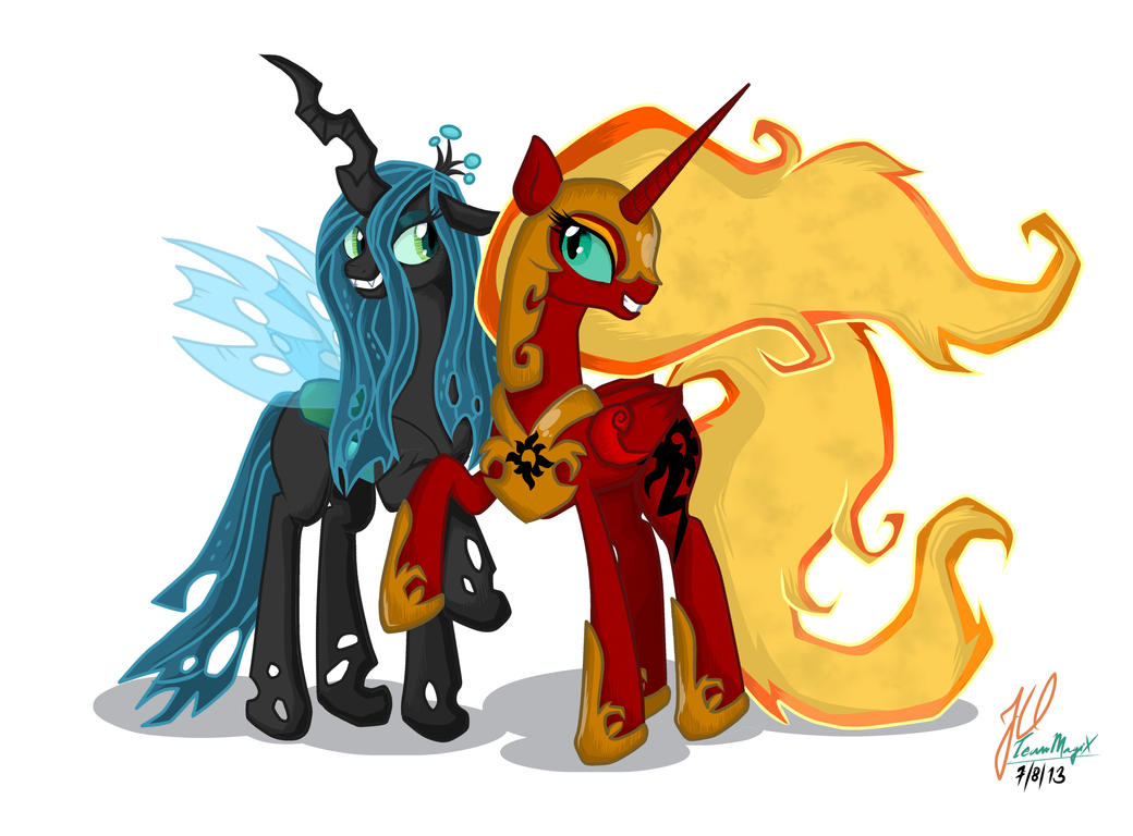 Queen chrysalis and solar flare best evil friends by for Queen chrysalis coloring pages